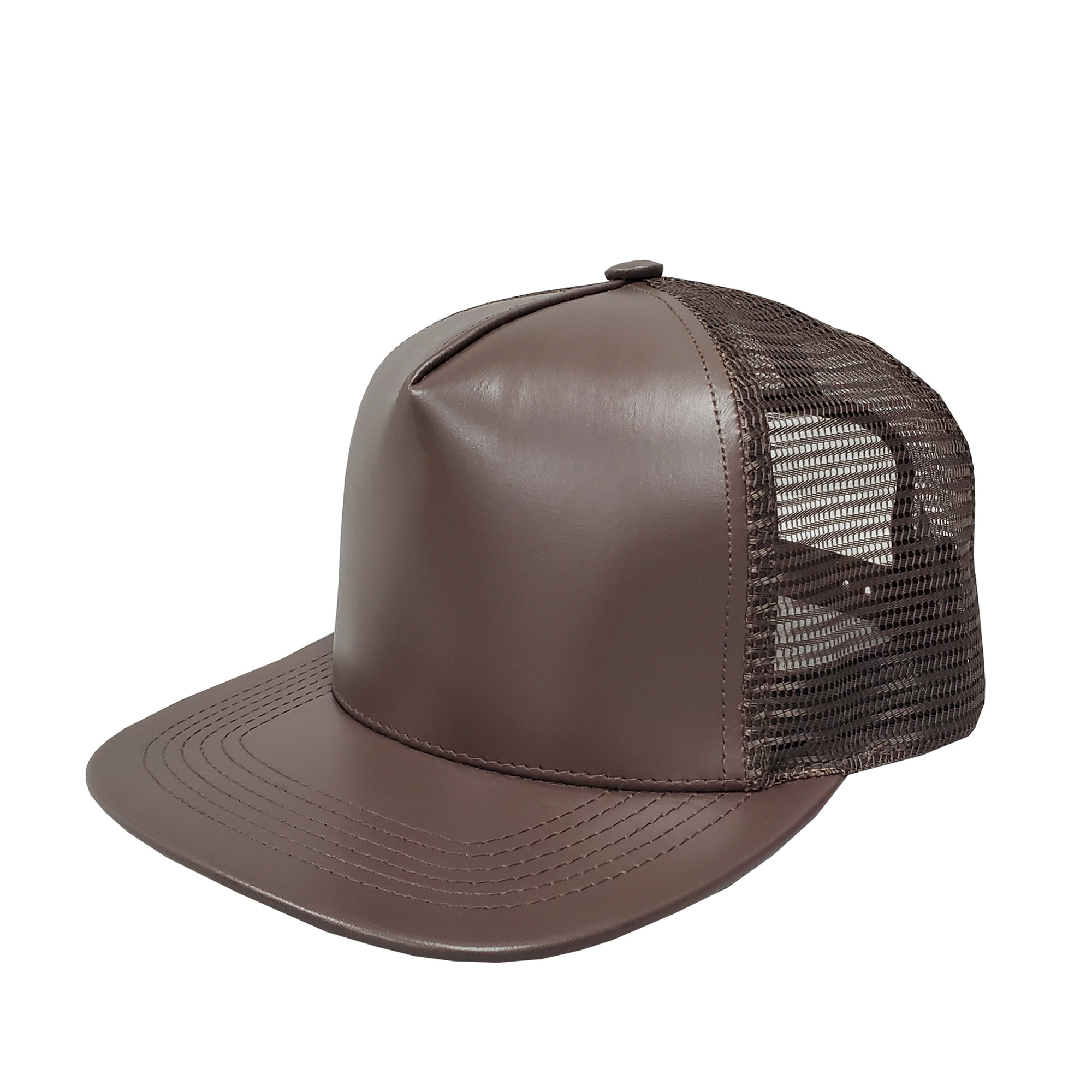 Brown Leather High-Profile Mesh Cap