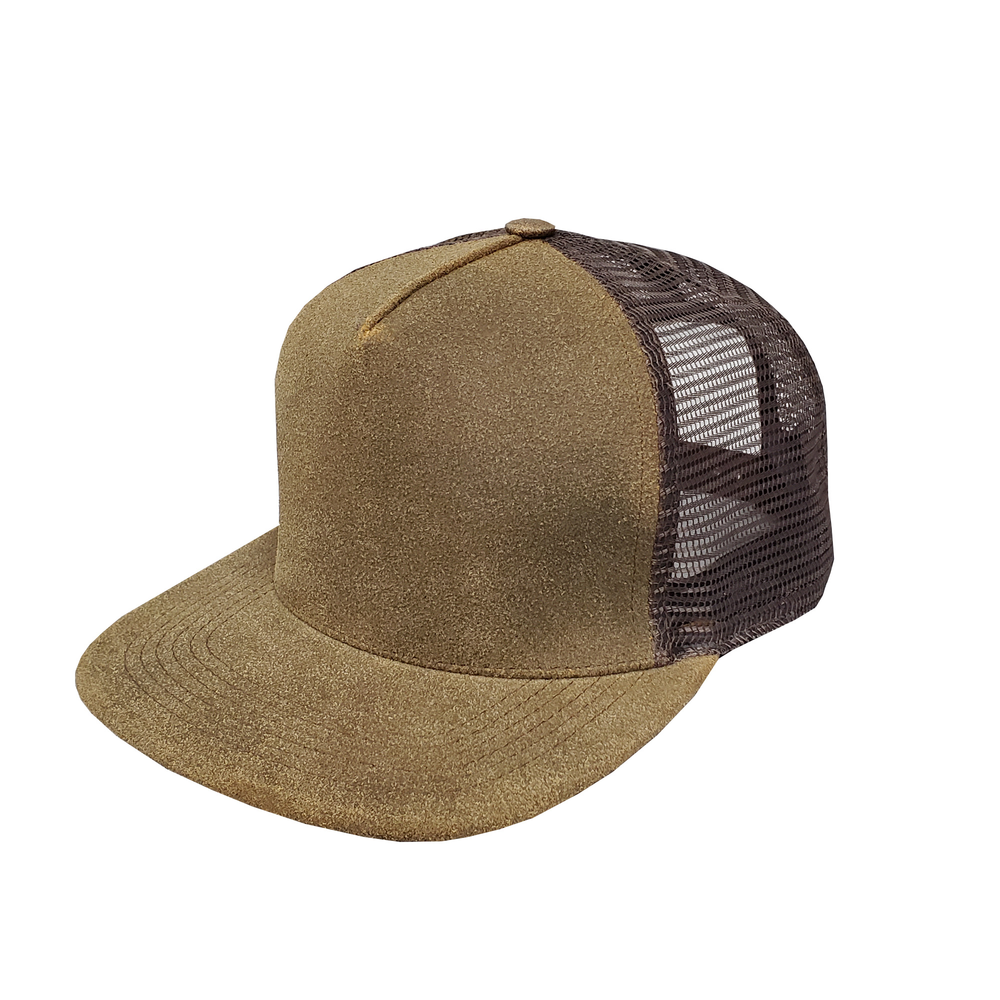 Distressed Brown Leather High-Profile Mesh Cap