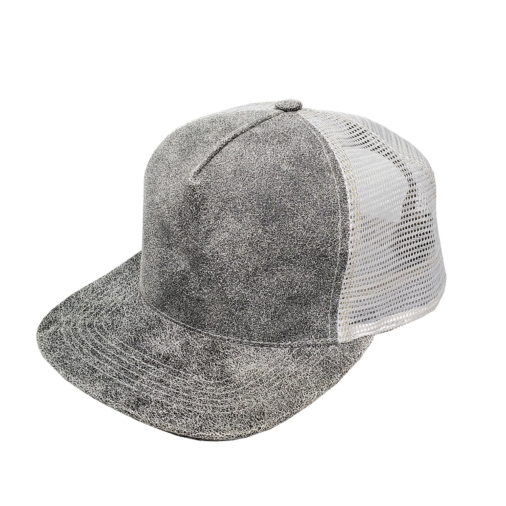 Distressed Grey Leather High-Profile Mesh Cap
