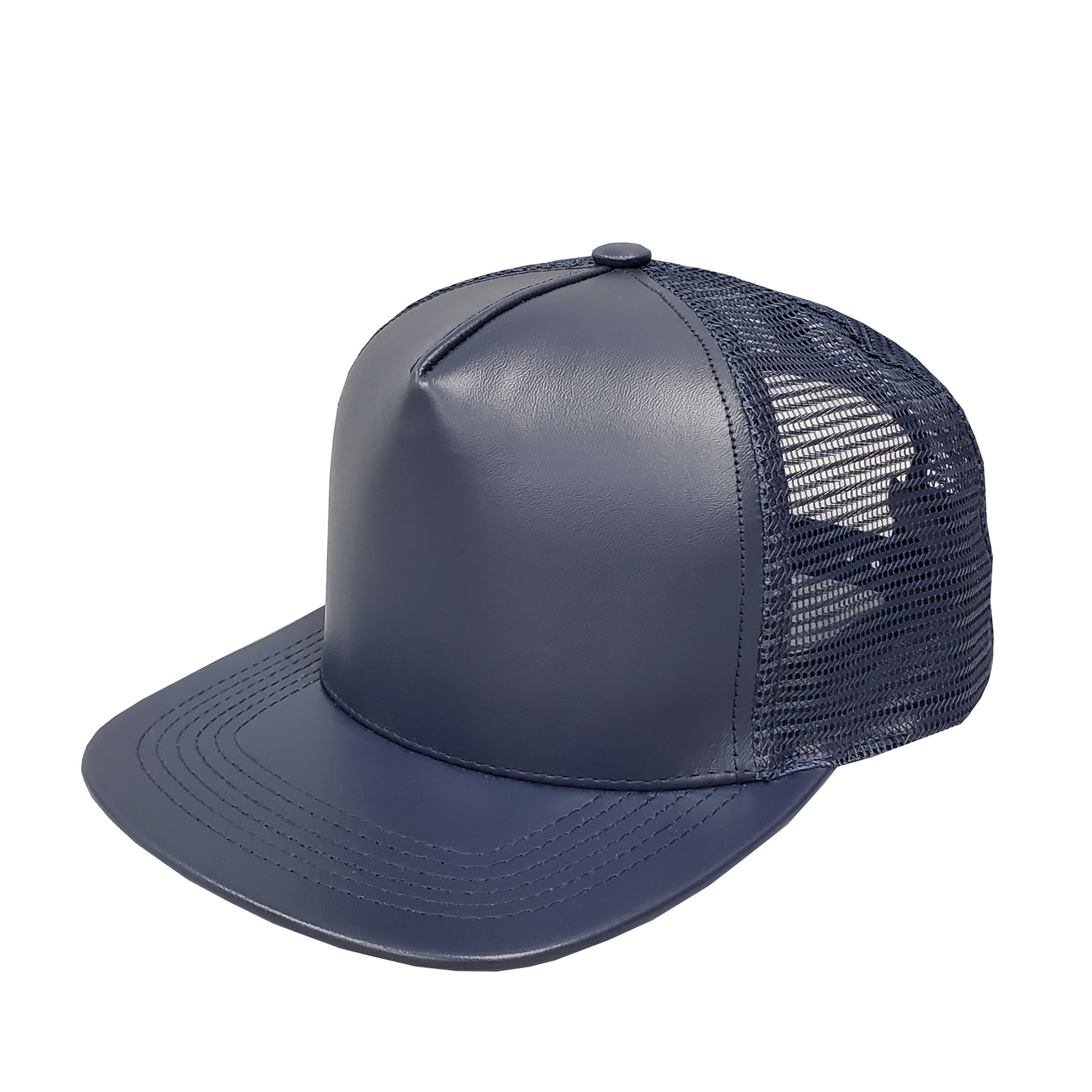 Navy Leather High-Profile Mesh Cap
