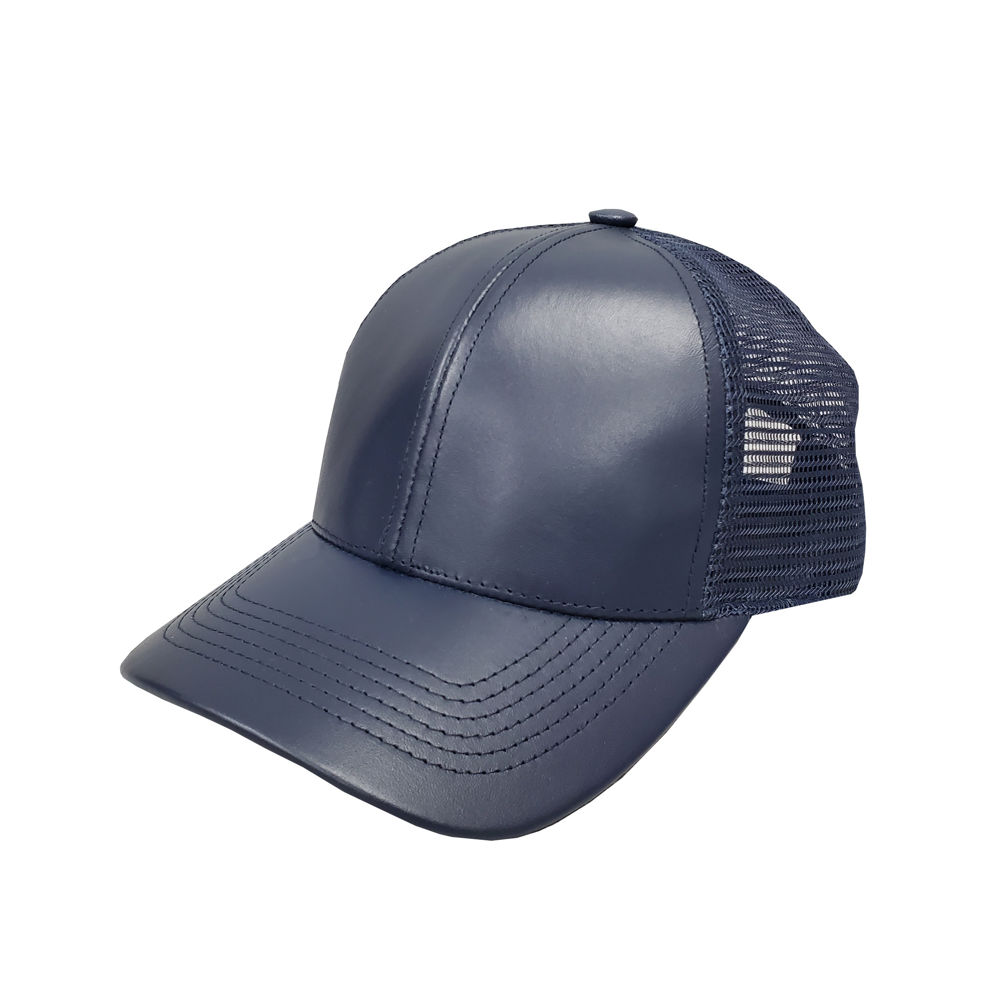 Navy Leather Mid-Profile Mesh Cap