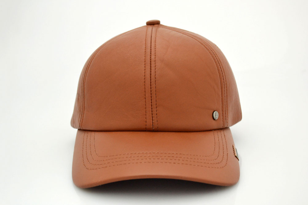 fitted brown leather baseball cap hat premium lambskin dark university