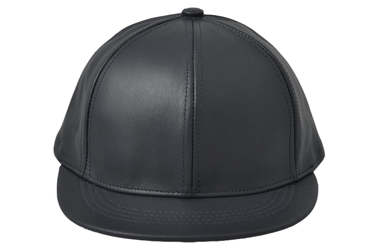 Black Leather Short Visor Jockey Cap
