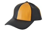 Black/Gold Patch Combo Leather Baseball Cap