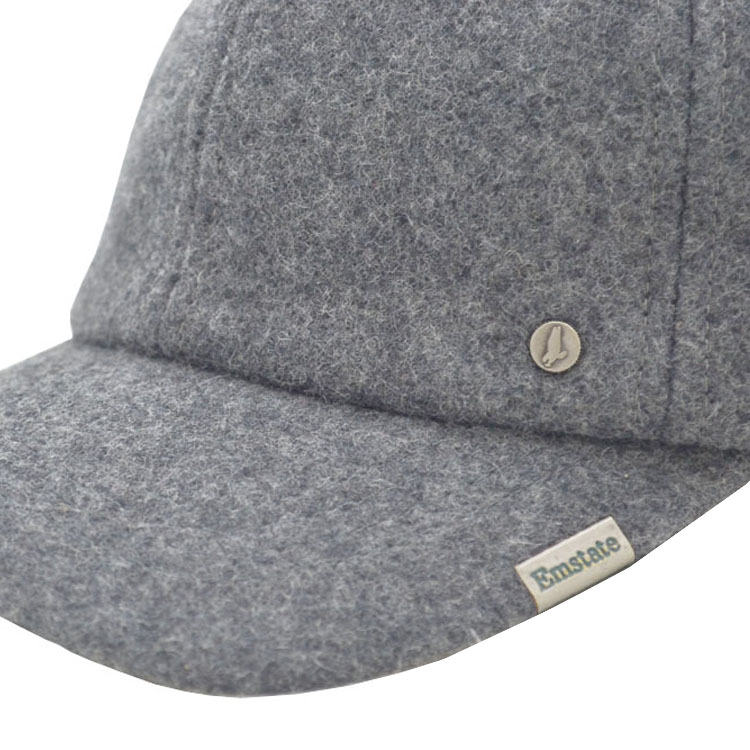 Emstate Heather Grey Melton Wool Cold Weather Baseball Cap f59fecacff5