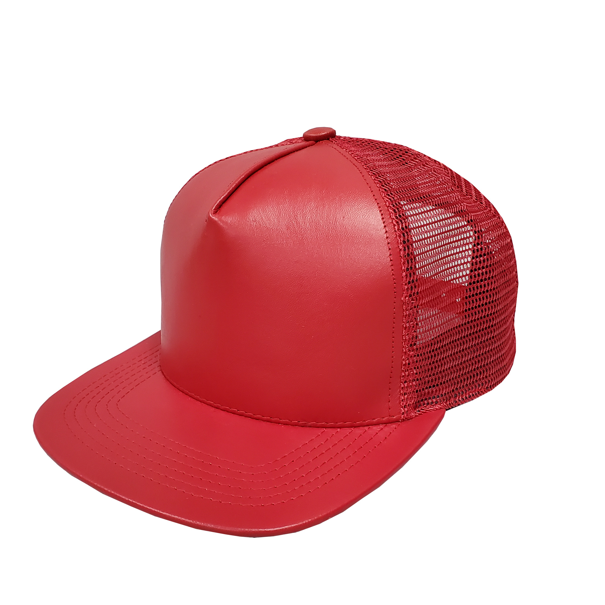 Red Leather High-Profile Mesh Cap