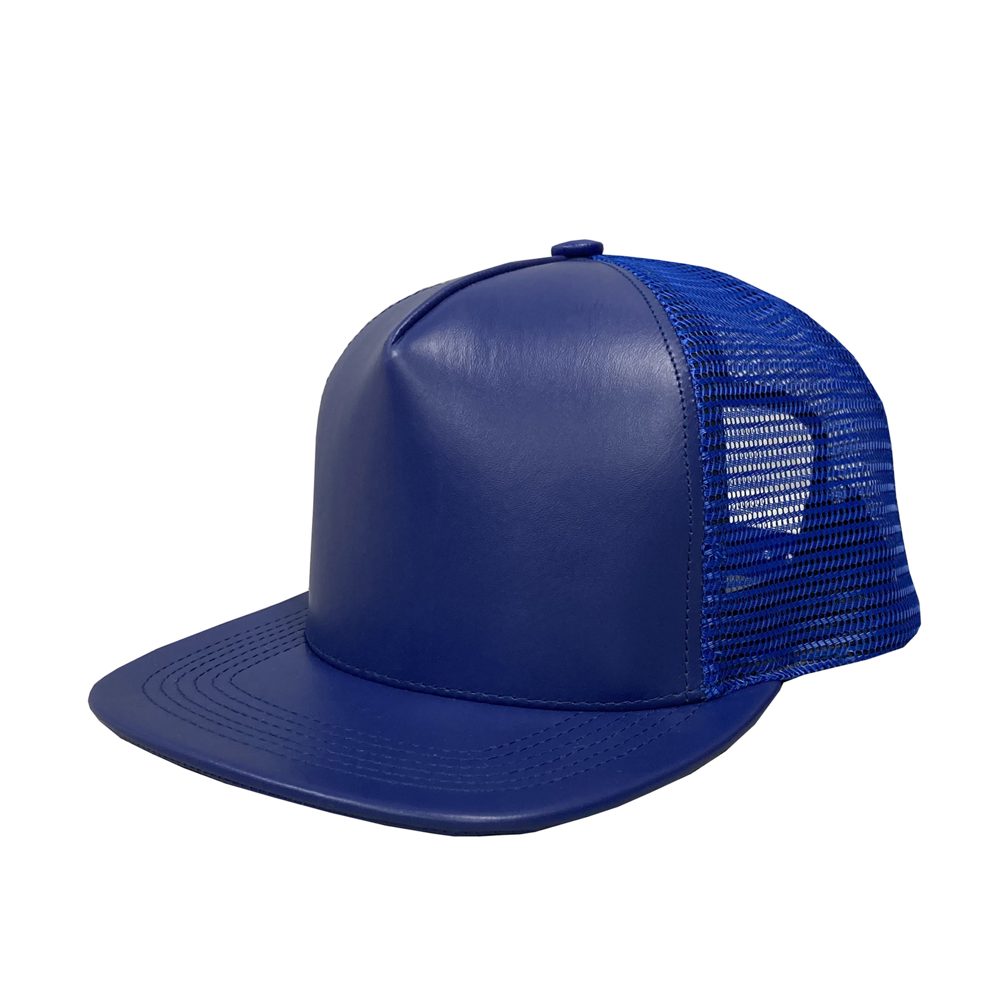 Royal Blue Leather High-Profile Mesh Cap