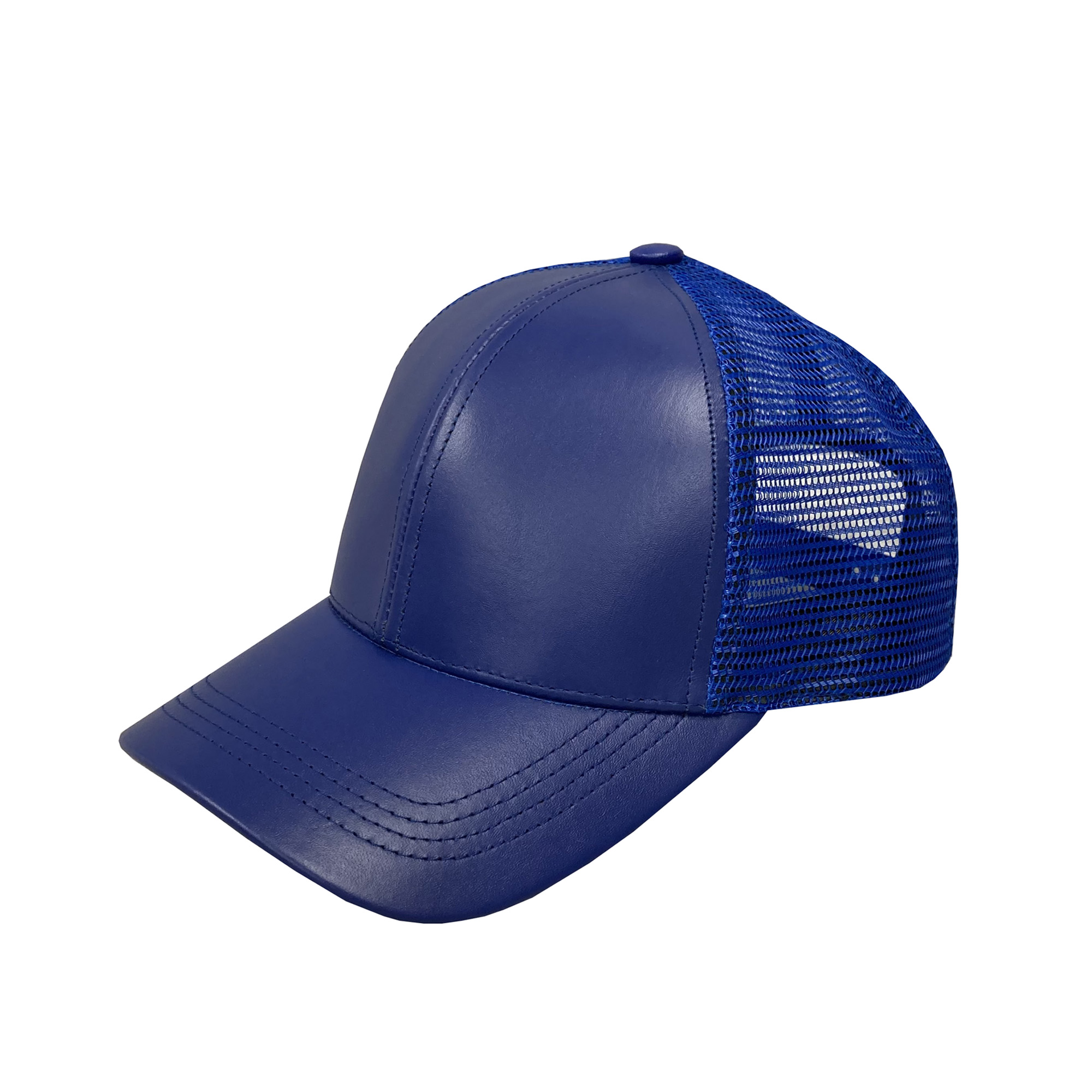 Royal Blue Leather Mid-Profile Mesh Cap