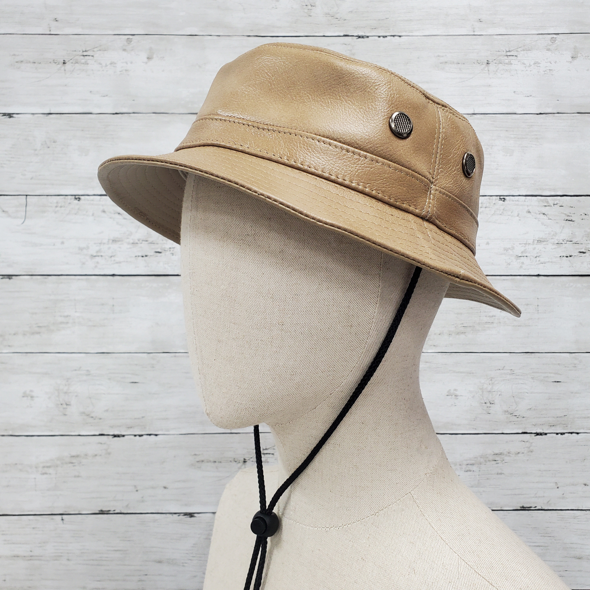 Tan/Nude Siena Leather Bucket Hat