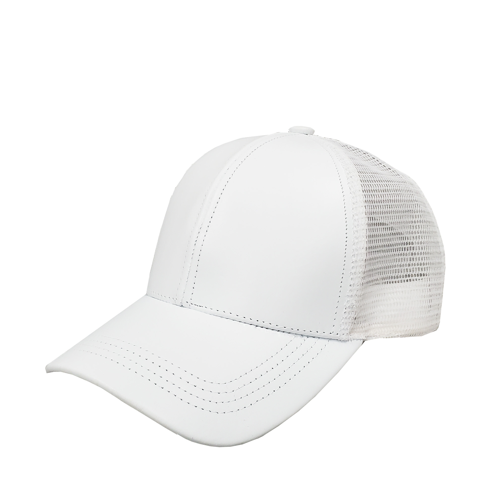 White Leather Mid-Profile Mesh Cap