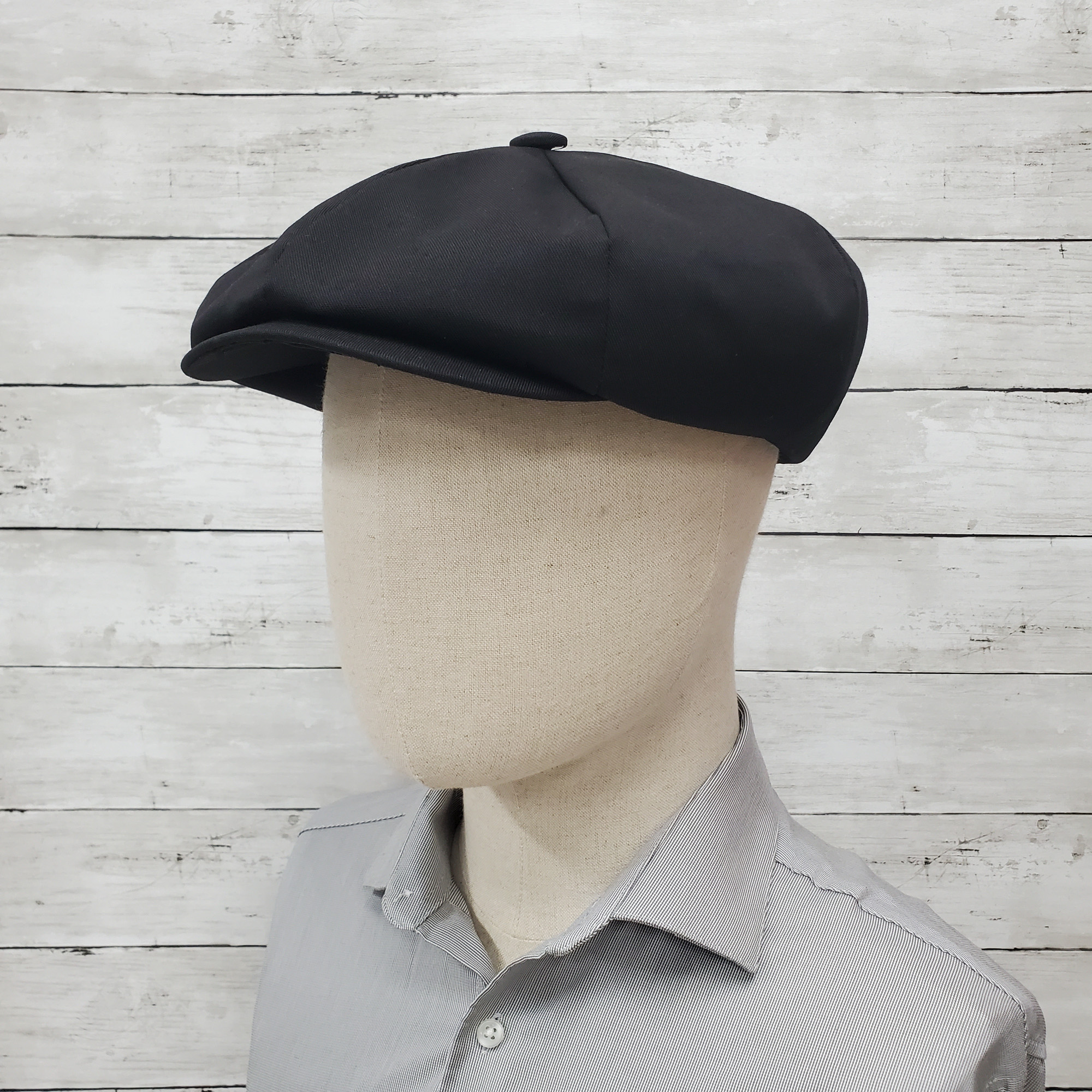 Black Eco Twill Apple Newsboy Cap
