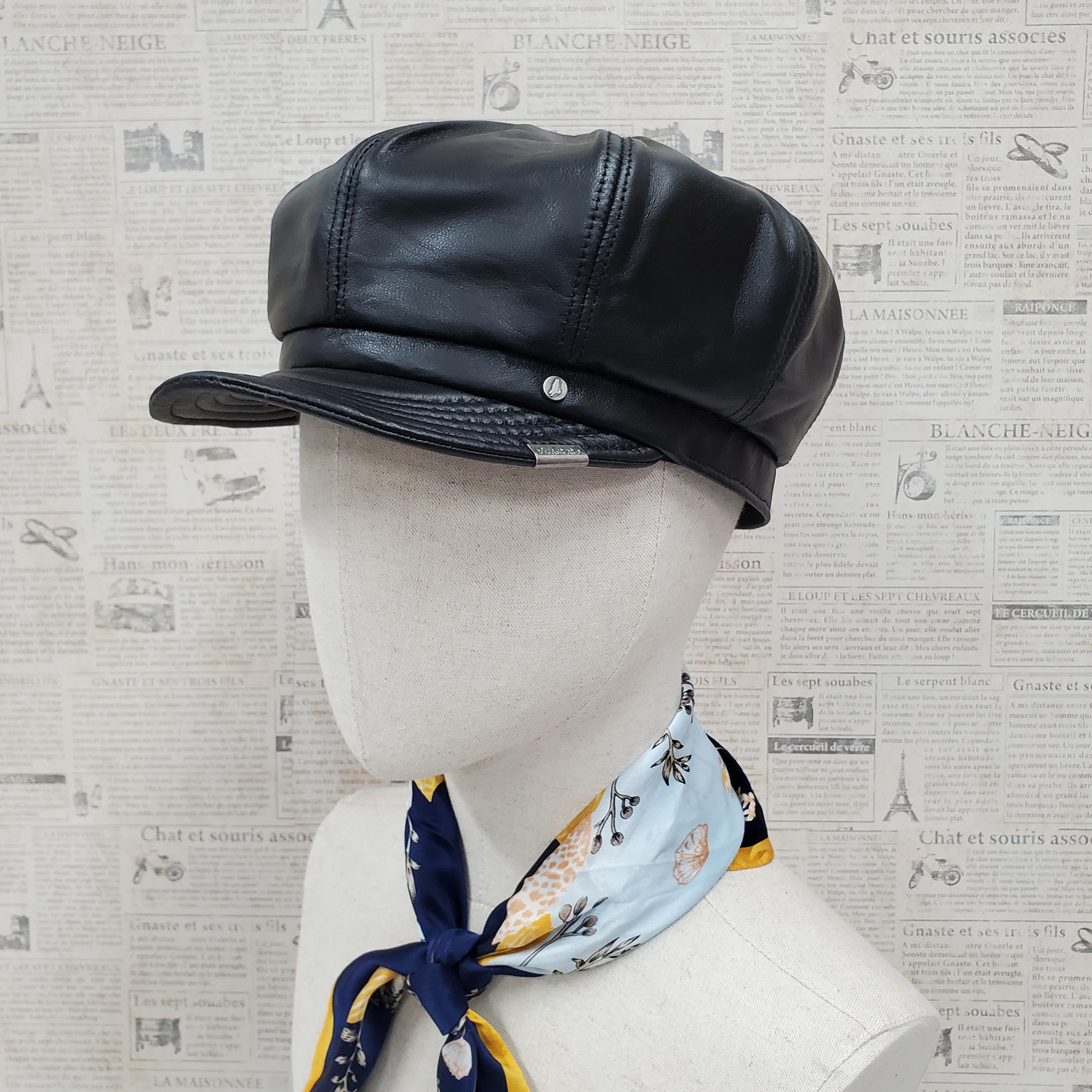 Black Lambskin Leather Newsboy Cap
