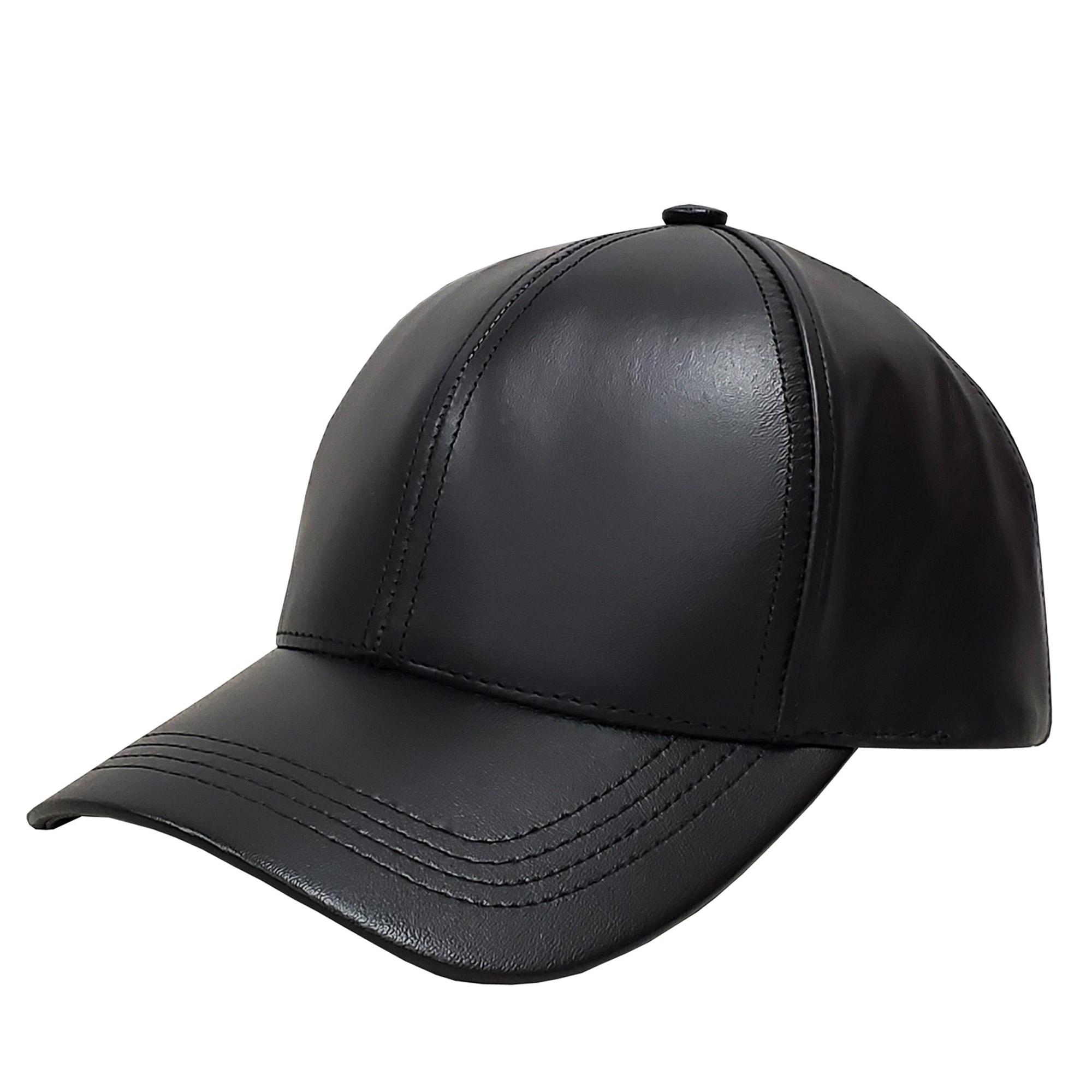 Black Leather Baseball Cap
