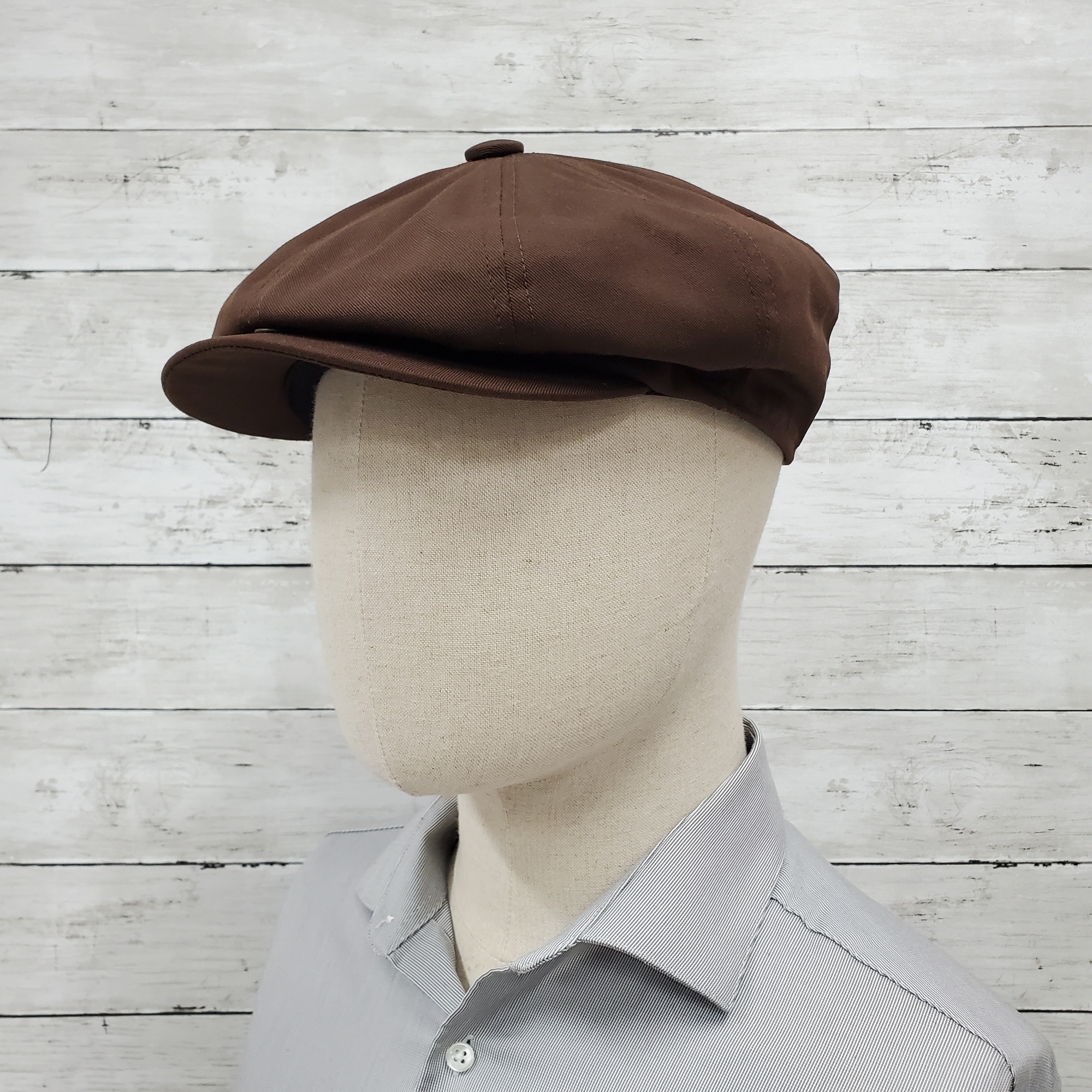 Brown Eco Twill Slim Newsboy Cap