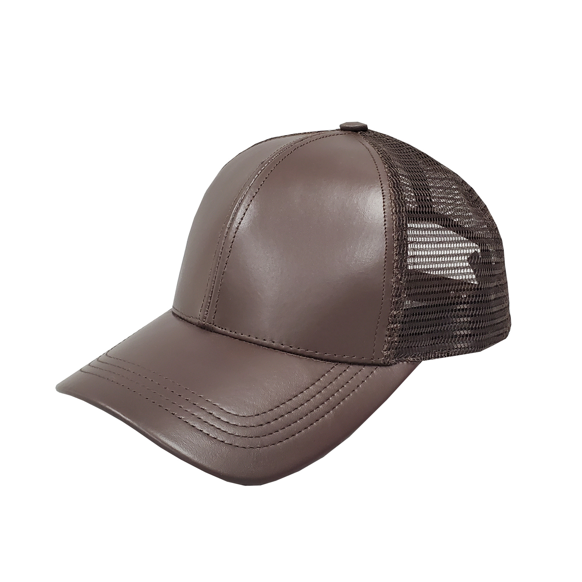 Brown Leather Mid-Profile Mesh Cap