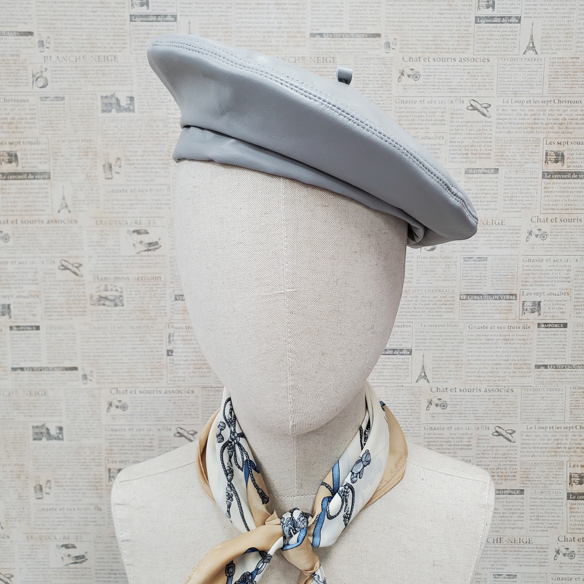 Light Grey Genuine Leather Beret