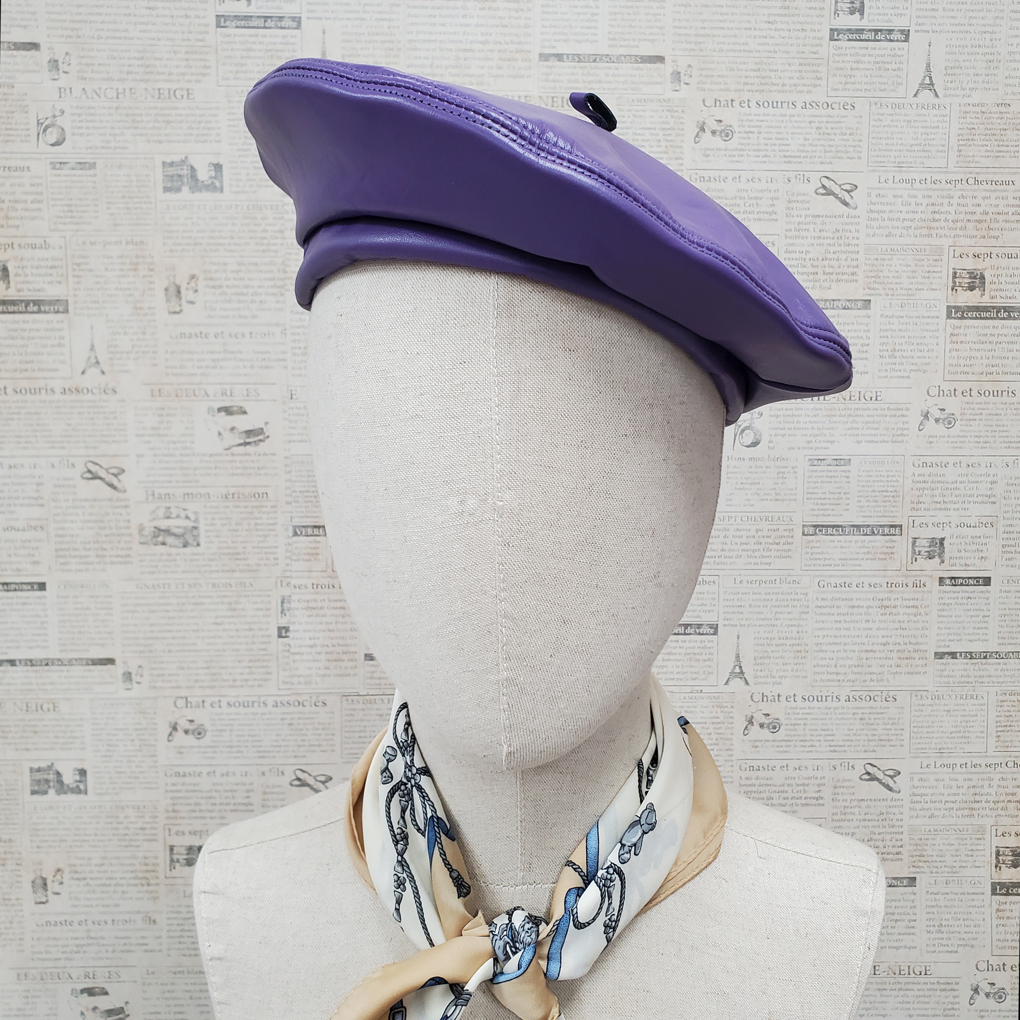Light Purple Genuine Leather Beret