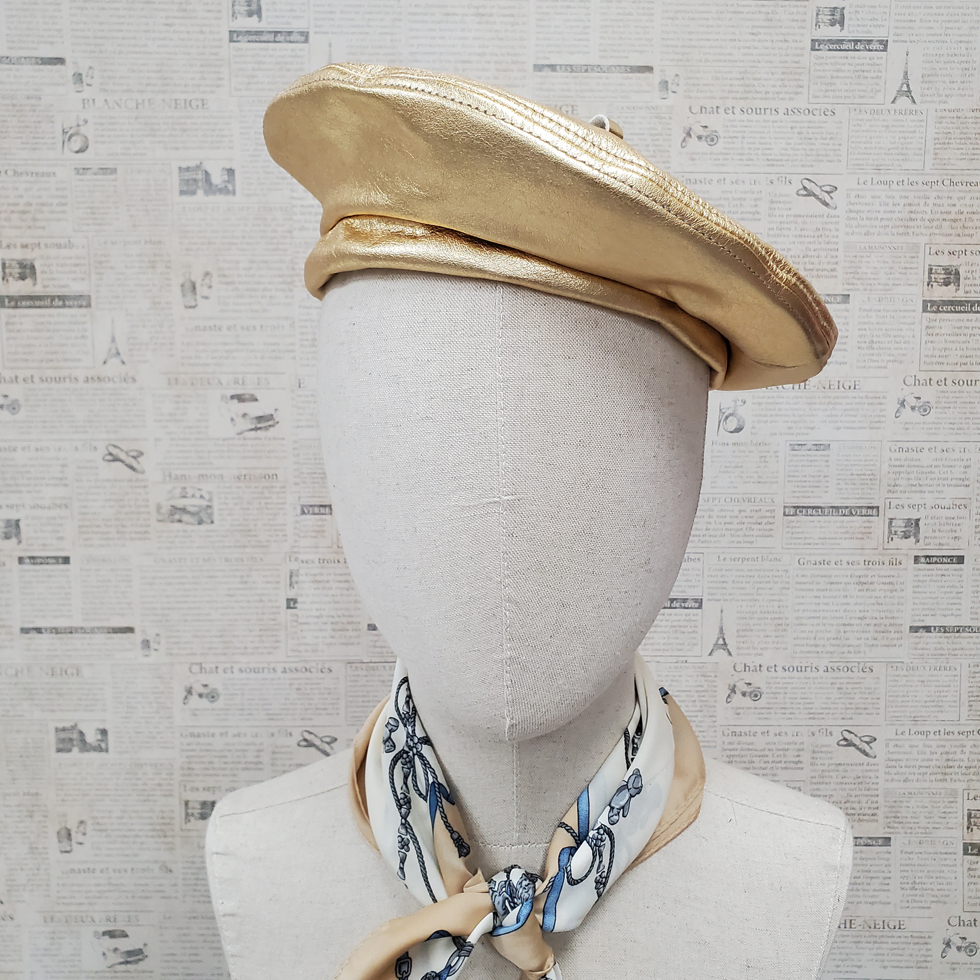 Metallic Gold Genuine Leather Beret