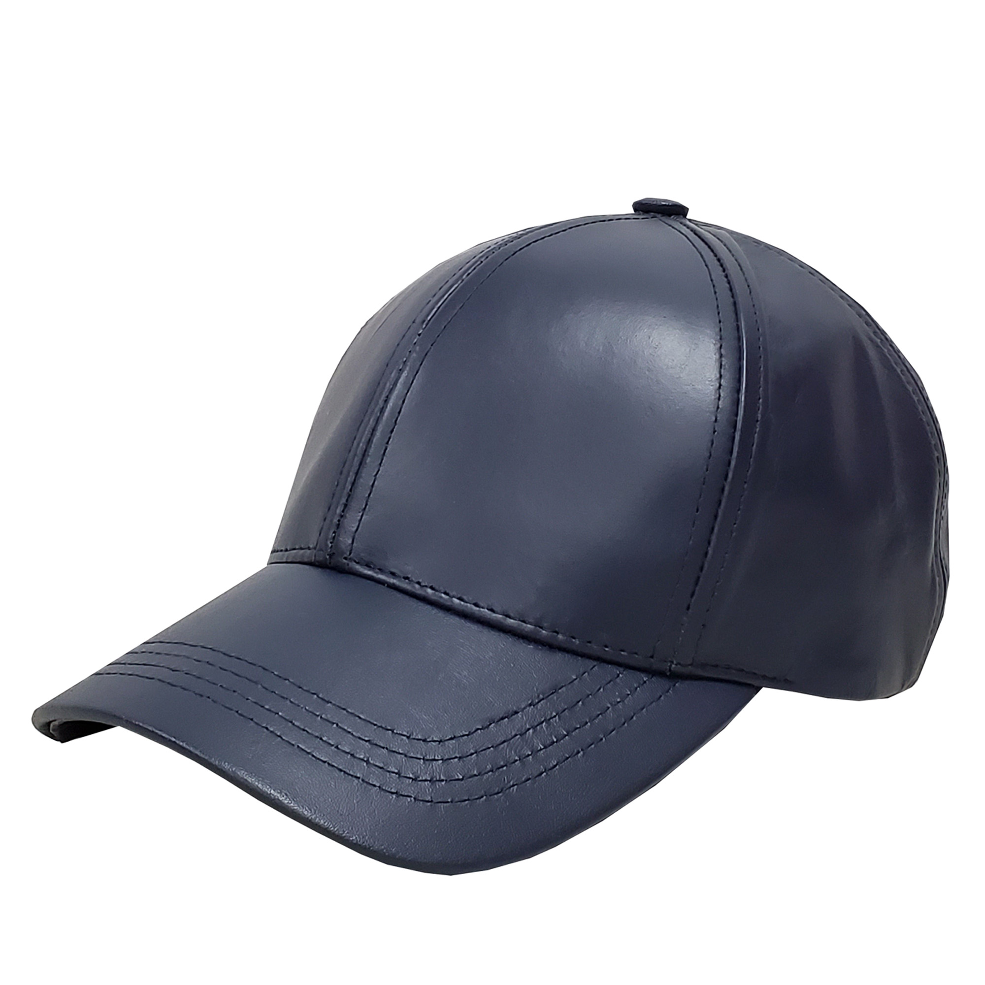 Navy Blue Leather Baseball Cap