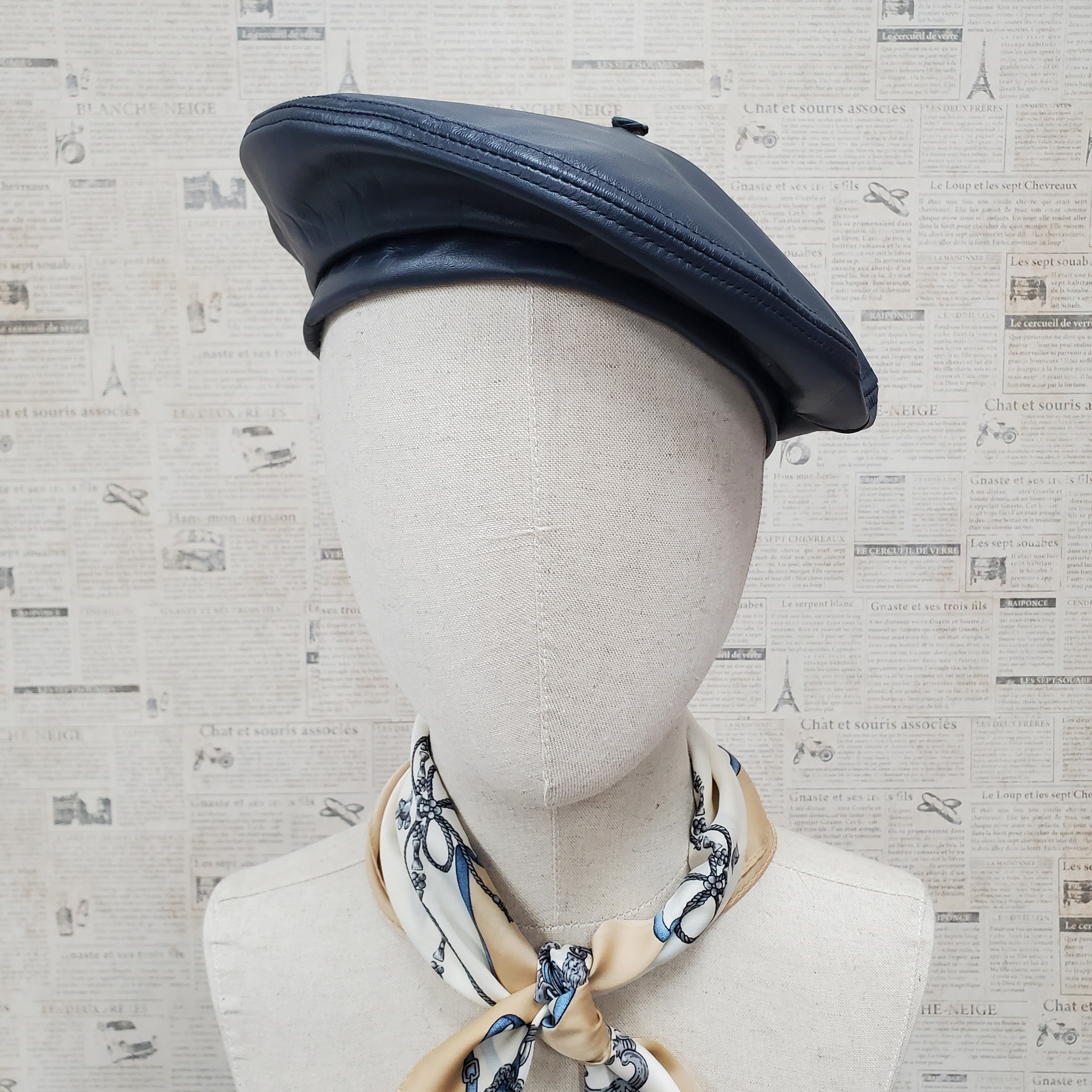 Navy Genuine Leather Beret