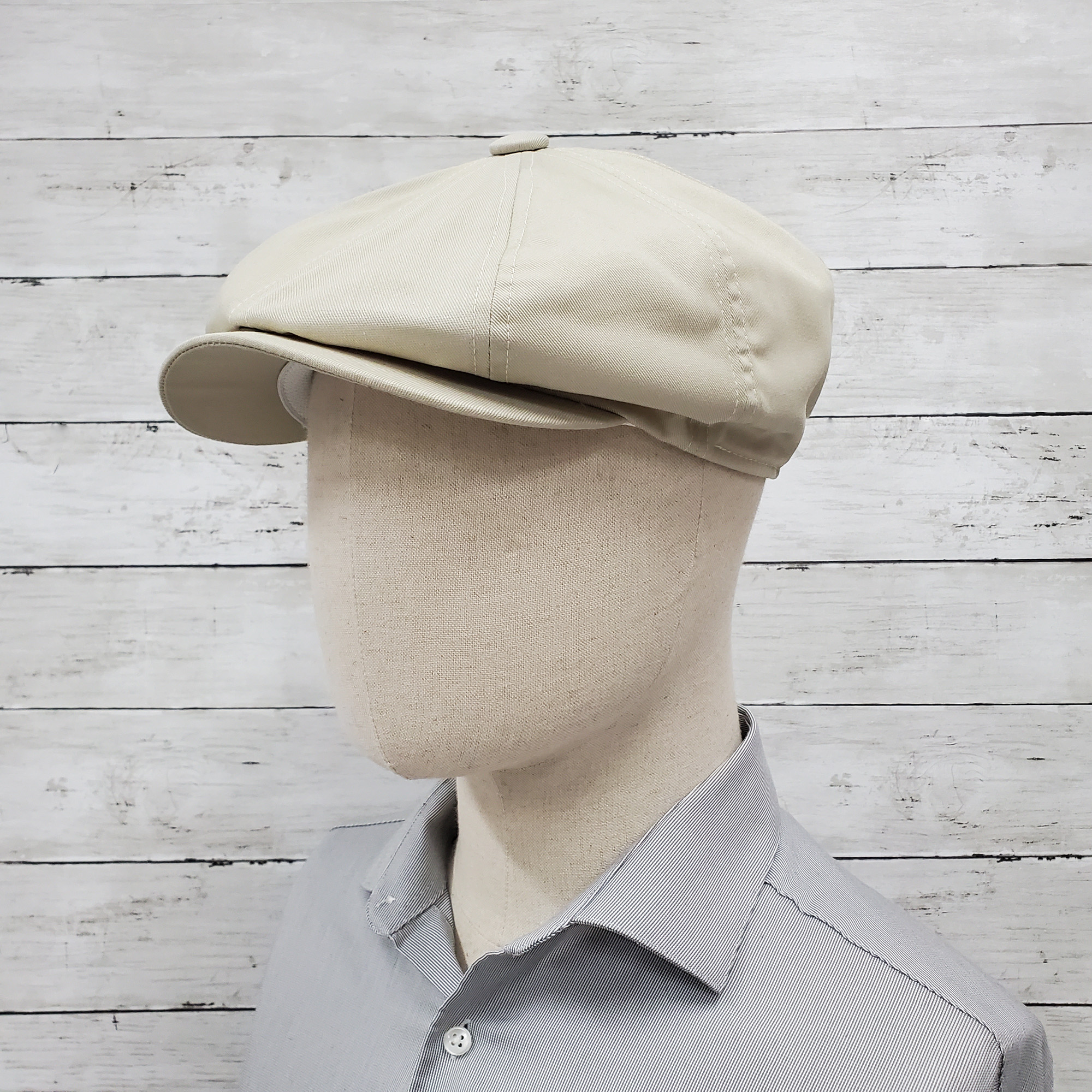 Oatmeal Eco Twill Slim Newsboy Cap