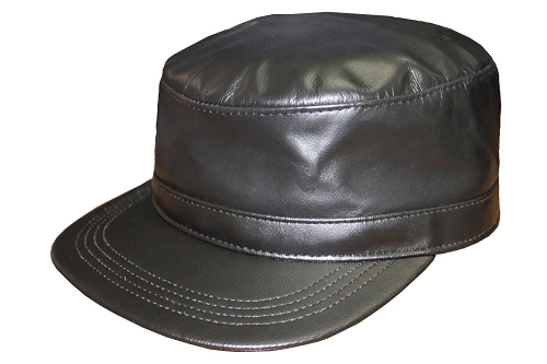 Black Cowhide Leather Military Cadet Cap One Size