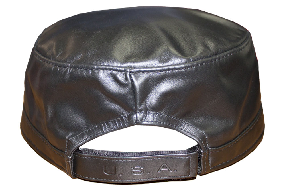 f95a503326fdf5 Winner Caps Emstate Black Genuine Cowhide Leather Military Cadet ...