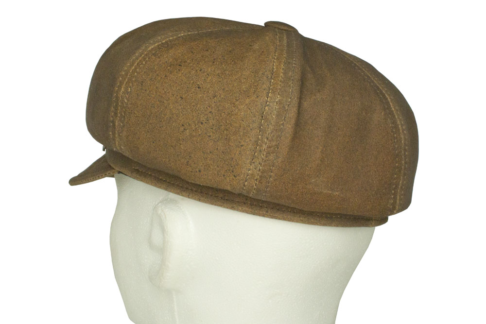 3bcfde8ea Emstate Vintage Distressed Brown Leather Newsboy Cap