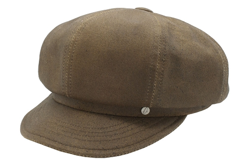 Emstate Vintage Distressed Brown Leather Newsboy Cap