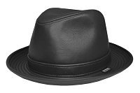 Black Leather Fedora