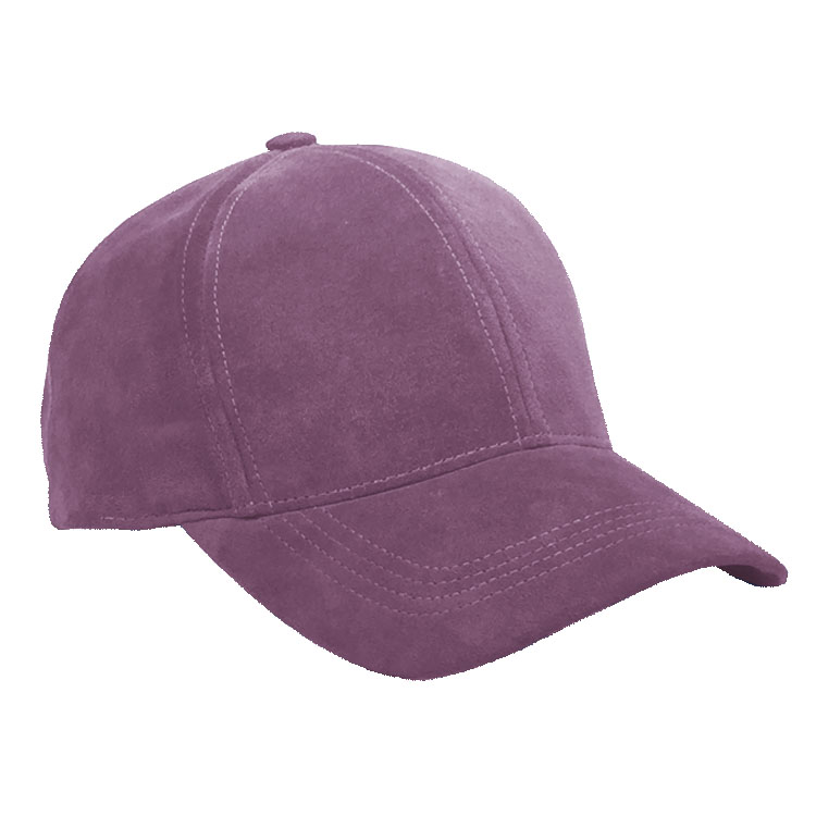 purple suede leather baseball cap curved visor
