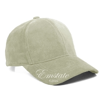 Ivory Suede Leather Baseball Cap