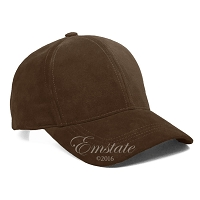 Dark Brown Suede Leather Baseball Cap