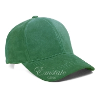 Kelly Green Suede Leather Baseball Cap