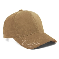 Khaki Suede Leather Baseball Cap