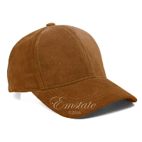 Light Brown Suede Leather Baseball Cap