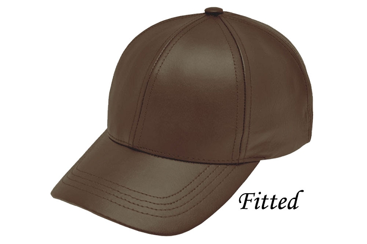 Fitted Brown Leather Baseball Cap