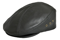 Black Siena Cowhide Leather Ascot Ivy Driver Cap