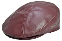 Burgundy Siena Cowhide Leather Ascot Ivy Driver Cap