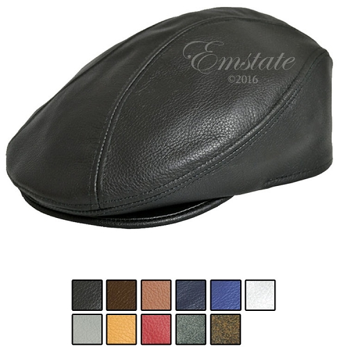 Emstate Genuine Pebble Leather Ascot Ivy Driver Cap 12 Different Colors