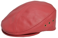 Red Siena Cowhide Leather Ascot Ivy Driver Cap