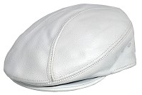 White Siena Cowhide Leather Ascot Ivy Driver Cap
