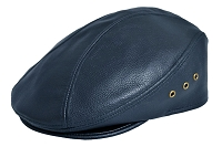 Navy Siena Cowhide Leather Ascot Ivy Driver Cap