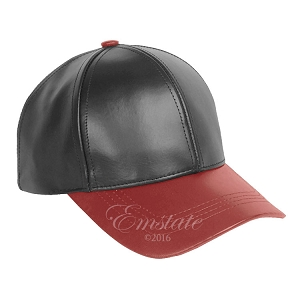 Black Red Two Tone Cowhide Leather Baseball Cap
