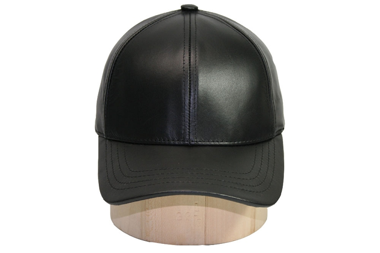 Fitted Black Leather Baseball Cap 76b96ef52c0