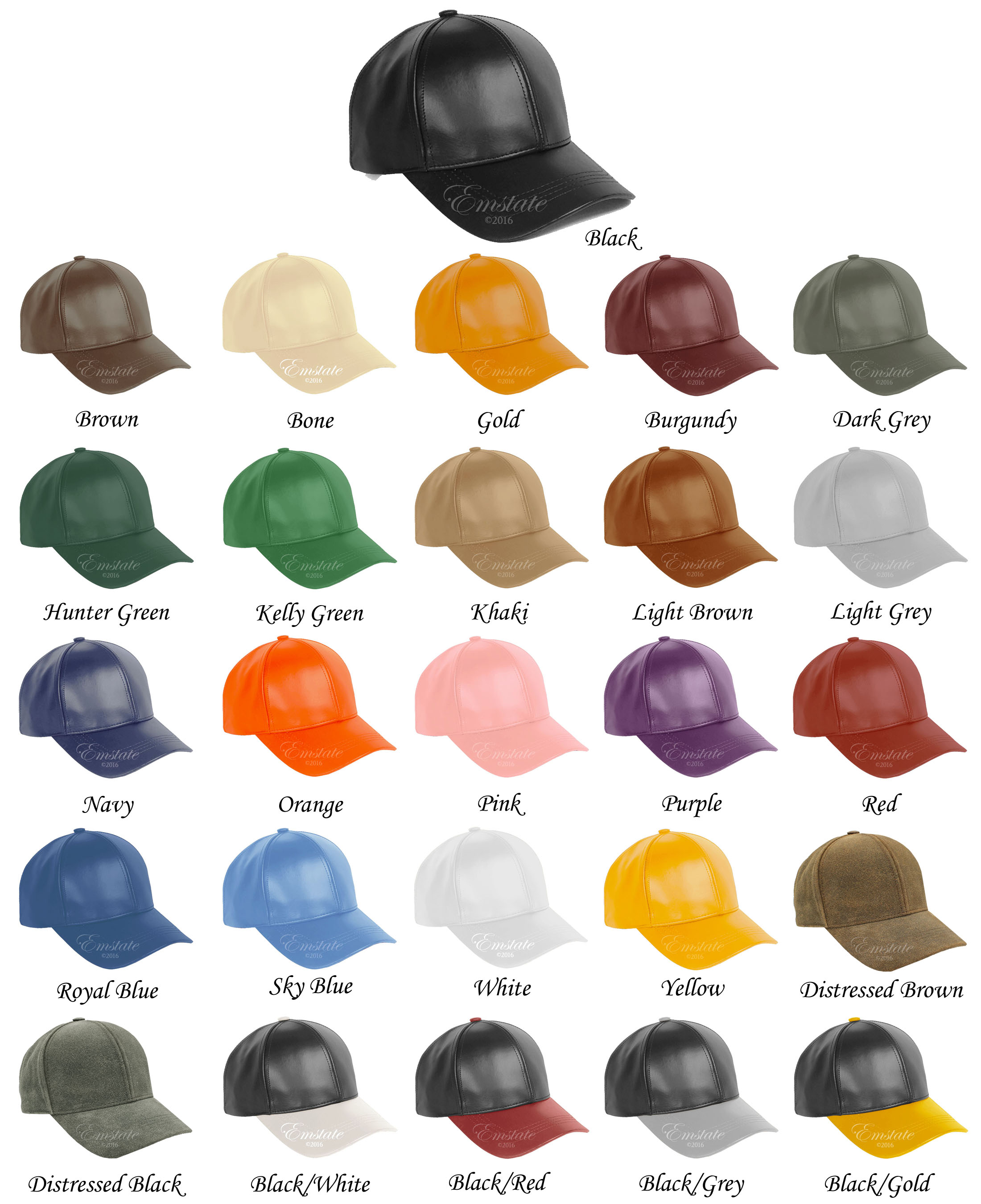 7715869dfa0 Genuine Cowhide Leather Baseball Cap 26 Different Colors