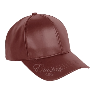 Burgundy Leather Baseball Cap