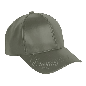 Dark Grey Leather Baseball Cap