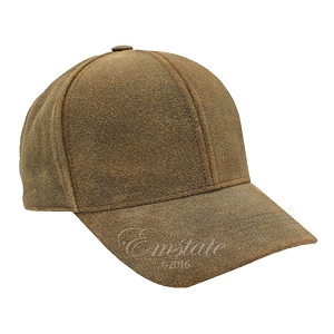 Distressed Brown Leather Baseball Cap