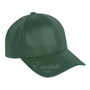 Forest Green Leather Baseball Cap